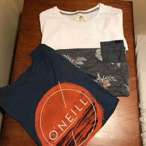 BUNDLE: 2 men's surf short-sleeve tshirts size: L